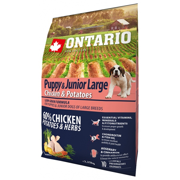 Ontario puppy & junior large chicken & potatoes 2,25 kg
